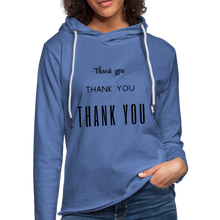 "Load image into Gallery viewer, Unisex Lightweight Terry ""Thank You"" Hoodie - heather Blue"