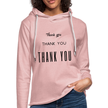 "Load image into Gallery viewer, Unisex Lightweight Terry ""Thank You"" Hoodie - cream heather pink"