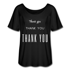 Women's Flowy  Thank You T-Shirt - black