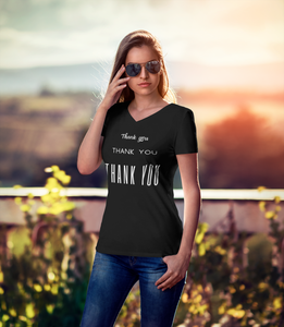 Women's V-Neck Thank you T-Shirt