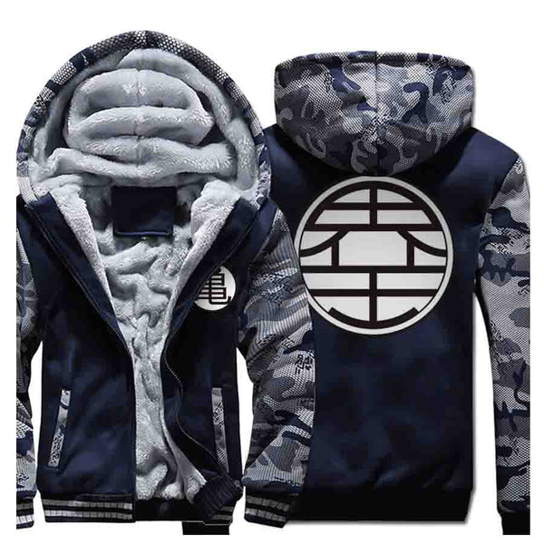 Dragon Ball Z Premium Thick Fleece Zip Up Hoodie with Kame and King Kai Kanji