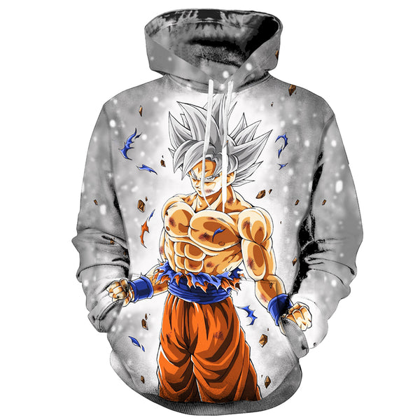 Dragon Ball Super Anime Goku Ultra Instinct Complete White Hoodie Sweatshirt - theOtakuGate