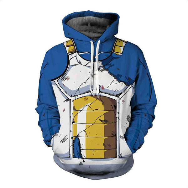 Dragon Ball Z Anime Vegeta Ripped Armor Style Hoodie Sweatshirt - theOtakuGate