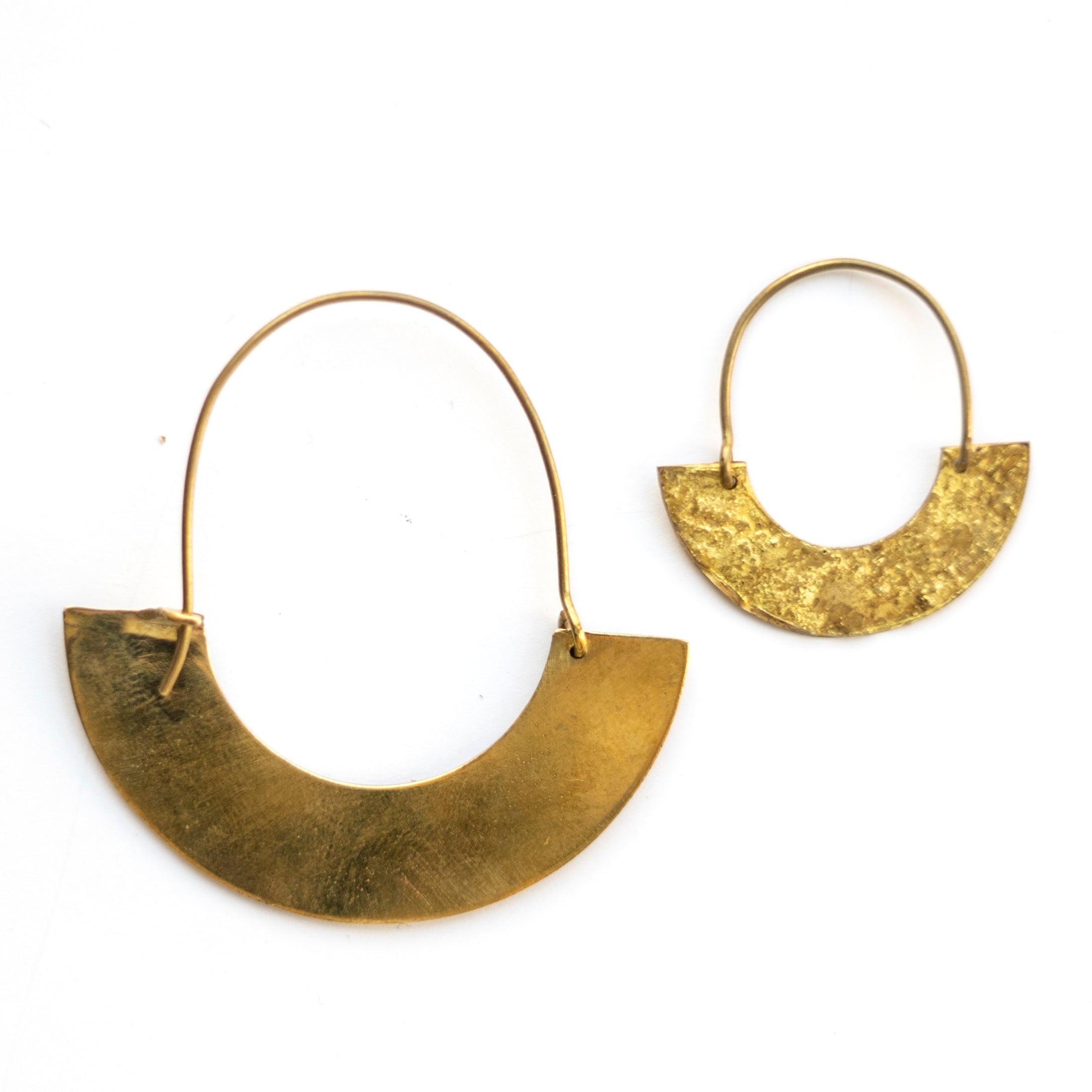 Half Circle Brass Earrings
