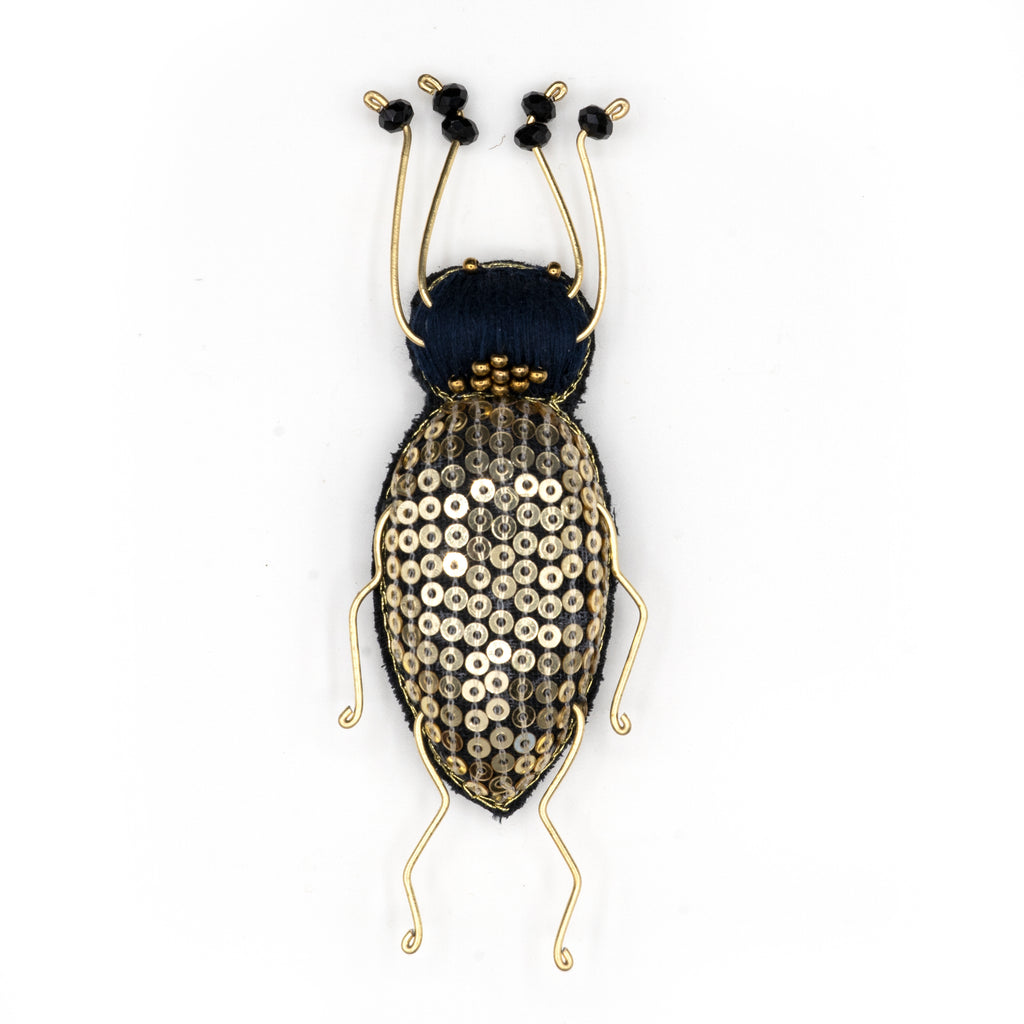 Gold Longhorn Beaded Brooch