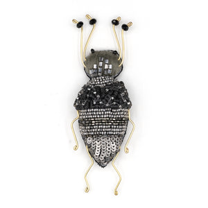 Moondust Longhorn Beetle Beaded Brooch