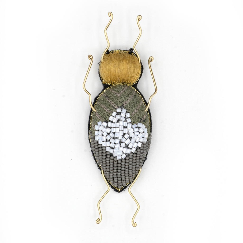 Clover Longhorn Beetle Beaded Brooch