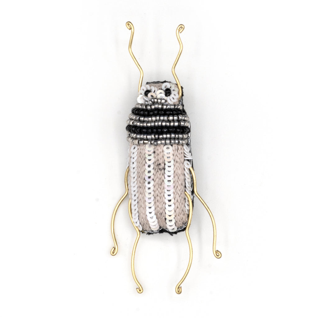 Pearl Longhorn Beetle Beaded Brooch
