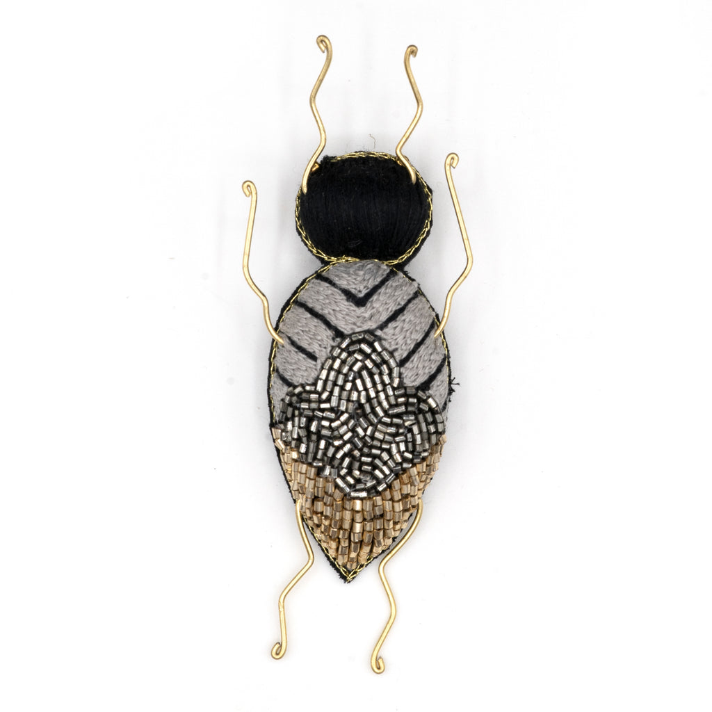 Longhorn Beetle Beaded Brooch