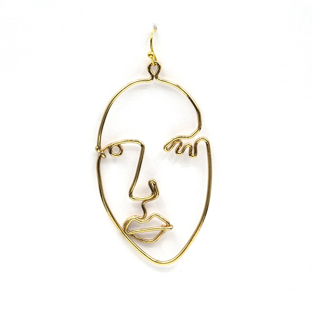 Wire Picasso Face Earrings