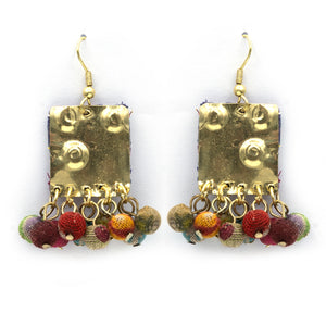 Recycled Textile Square Earring