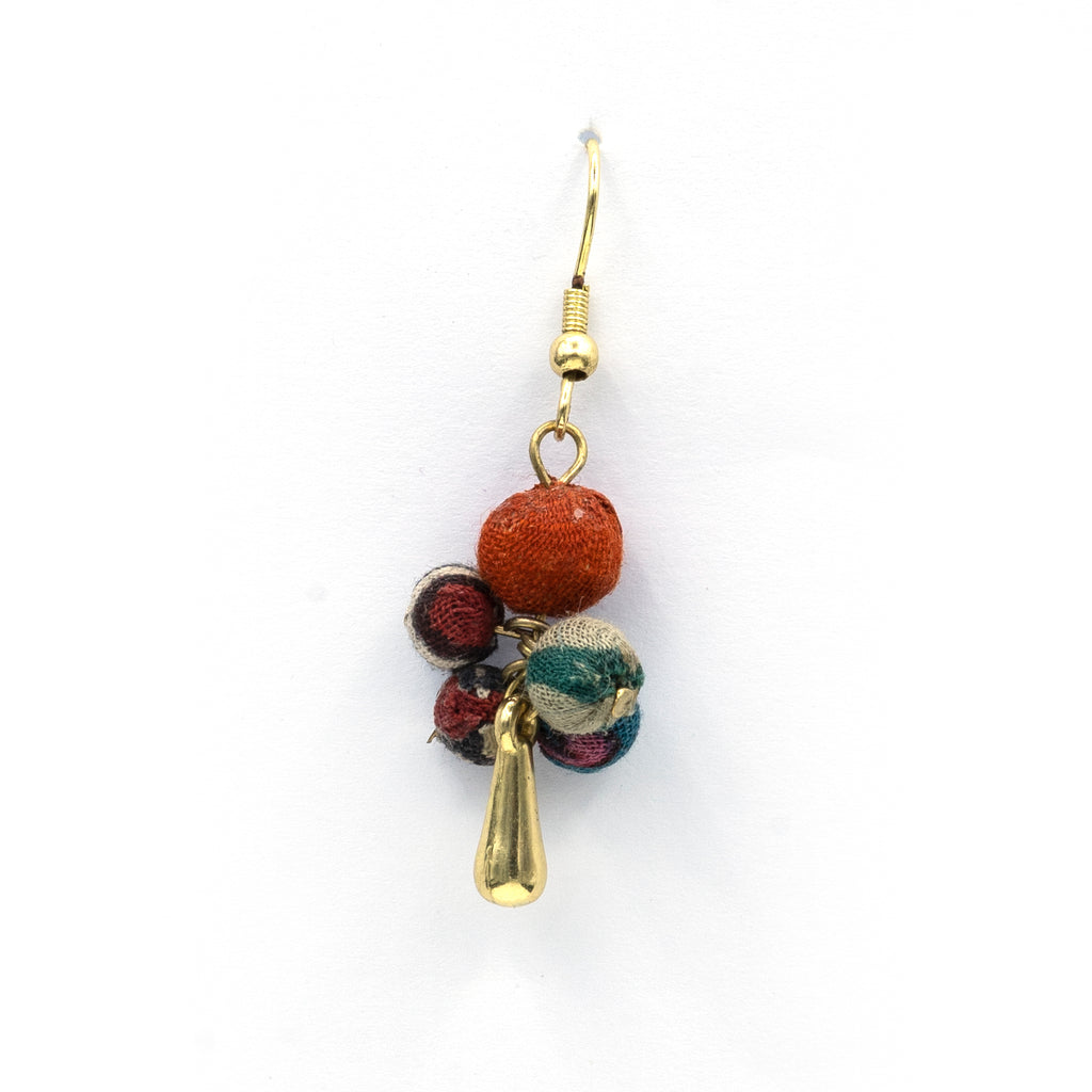 Recycled textile drop earring