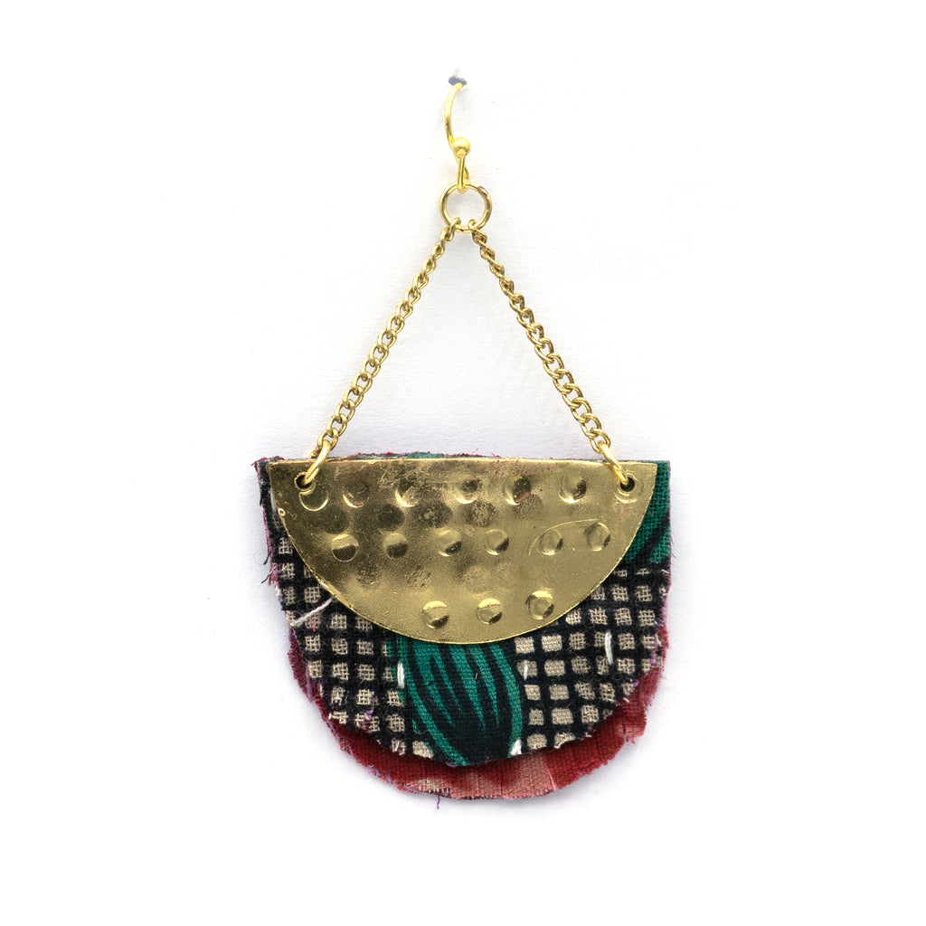 Recycled Textile Hanging earring