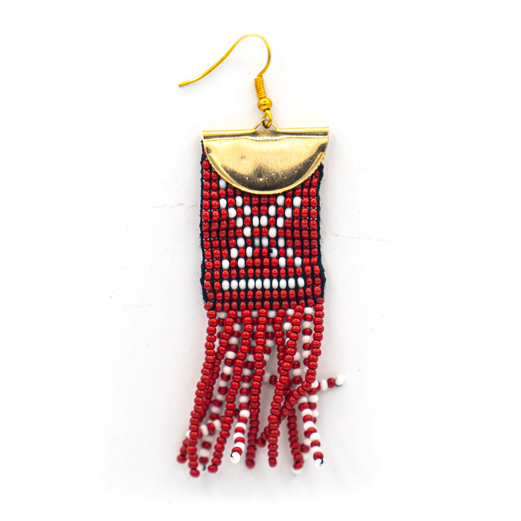 Beaded Mudcloth Earring