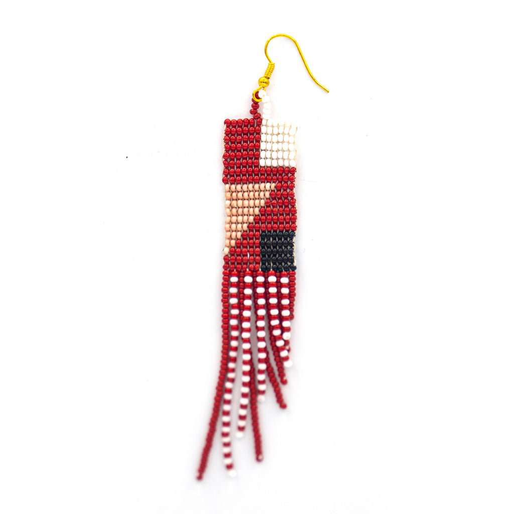 Geometric Red Triangle Earring