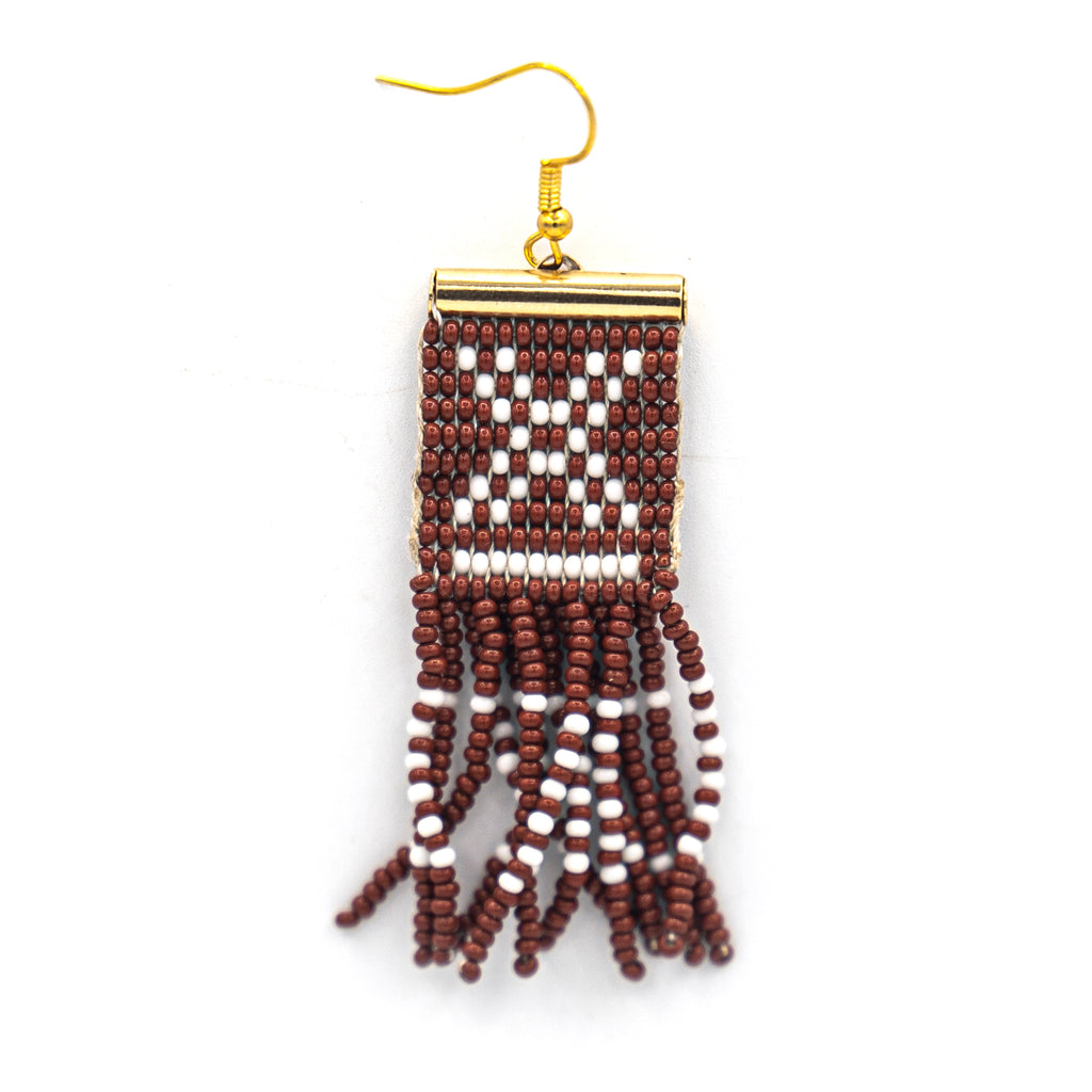Beaded Mudcloth Earring Clay
