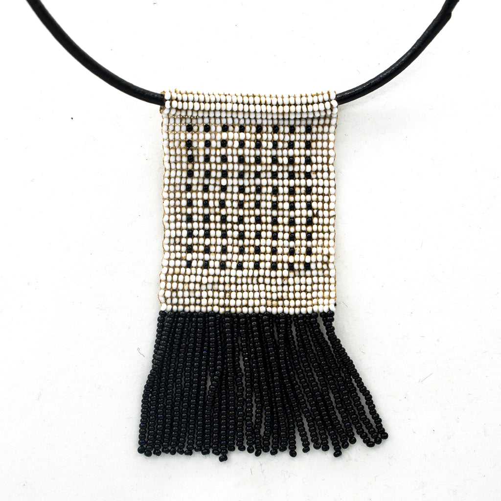 Dotted Beaded Pendant with beaded fringe