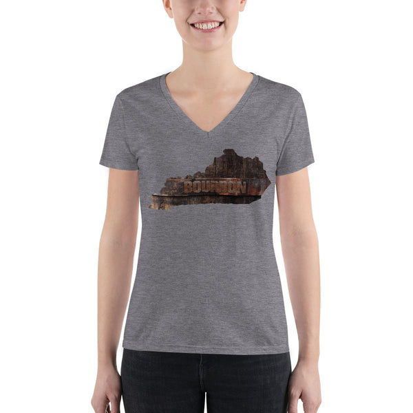 KENTUCKY BOURBON: Front and Back Design - Women's Fashion Deep V-neck Tee