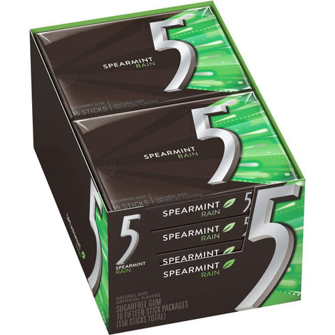 5 GUM Spearmint Rain Sugar Free Chewing Gum, 15 pieces - 10 Count
