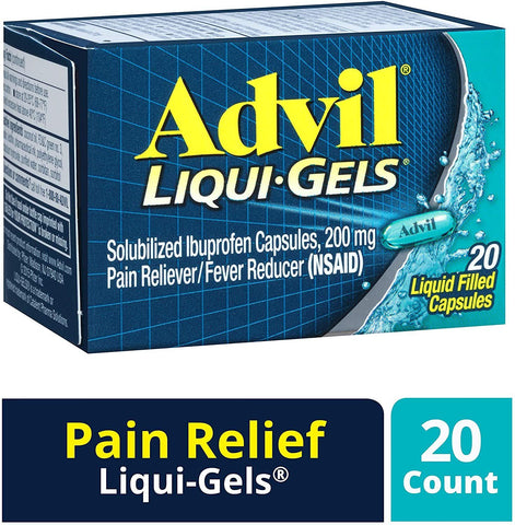 Advil Liqui-Gels Pain Reliever and Fever Reducer, Solubilized Ibuprofen (200mg) - 20 Count
