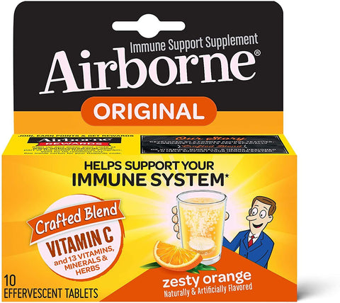 Airborne Effervescent Tablets,  Zesty Orange, ( 10 tablets) - 1 Count