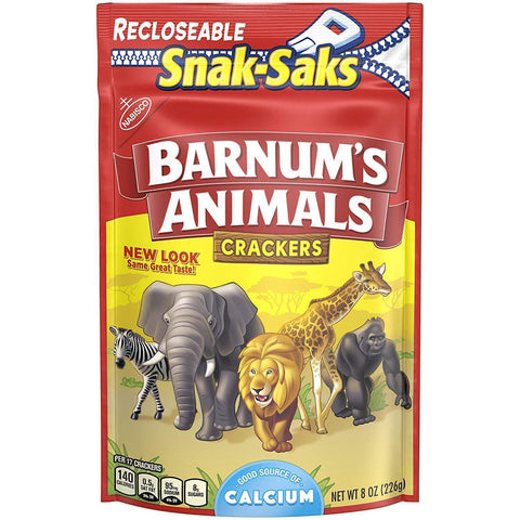 Barnum's Animal Crackers (8 oz.) Snak-Saks - 12 Count