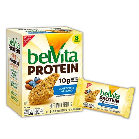 BELVITA Protein Blueberry Almond Soft Baked Biscuits - 8 Count