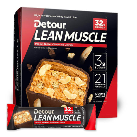 DETOUR Lean Muscle Peanut Butter Chocolate Crunch Protein Bars - 12 Count