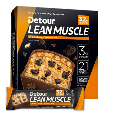 DETOUR Lean Muscle Cookie Dough Caramel Crisp Protein Bars - 12 Count