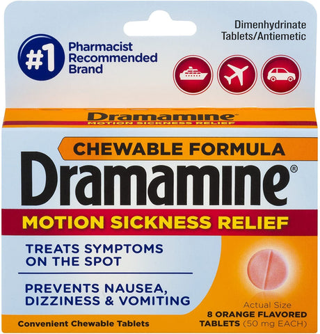 Dramamine Chewable - Motion Sickness Relief (50mg) - 8 Count