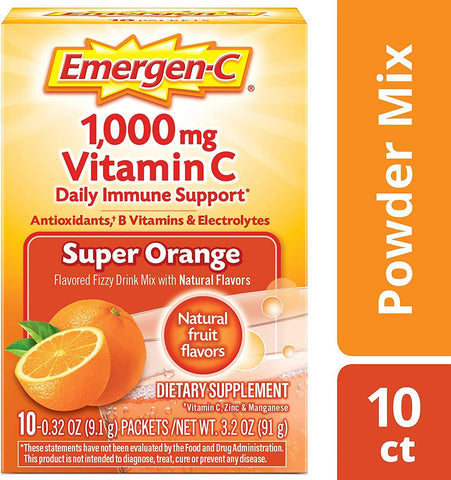 Emergen-C Vitamin C 1000mg Powder Packets Super Orange Flavor - 10 Count