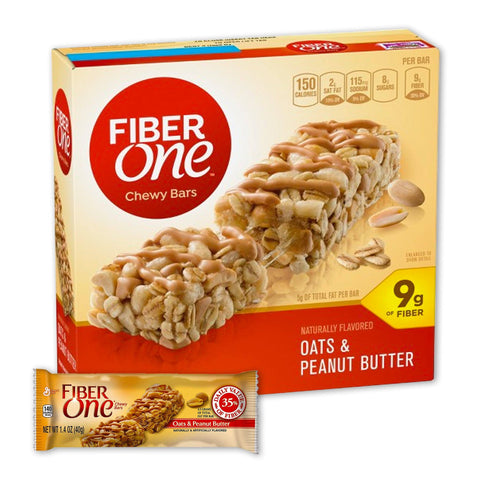 FIBER ONE Oats & Peanut Butter Chewy Fiber Bars - 16 Count