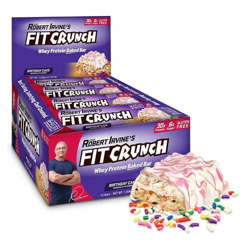 FIT CRUNCH Birthday Cake Protein Bars - 12 Count