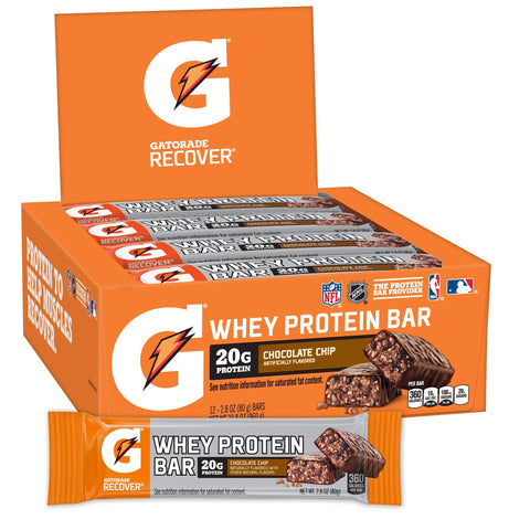 GATORADE Chocolate Chip Protein Bars - 12 Count