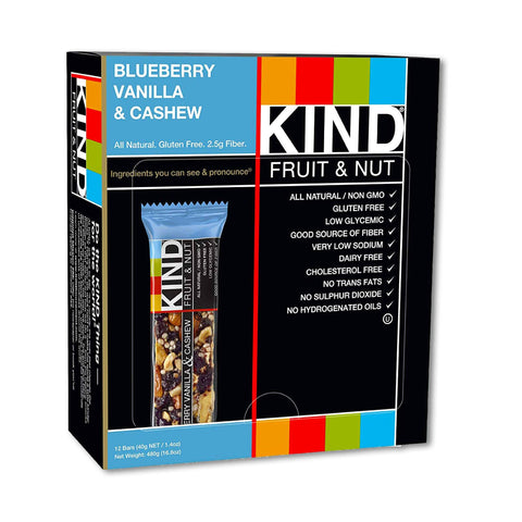 KIND Blueberry Vanilla & Cashew Fruit & Nut Bars - 12 Count