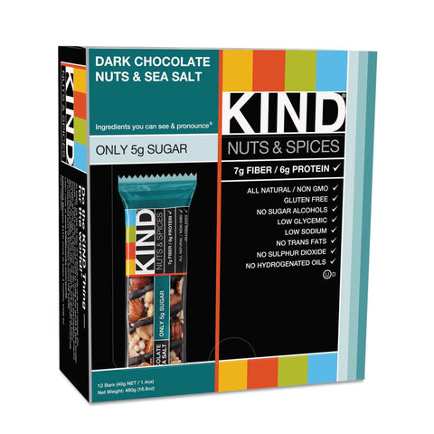 KIND Dark Chocolate Nuts & Sea Salt Nuts & Spices Bars - 12 Count