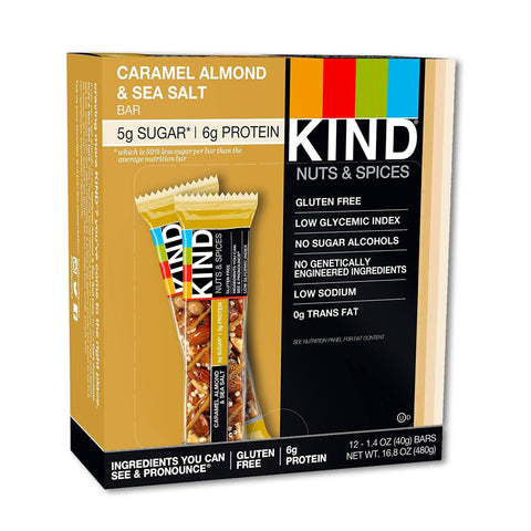 KIND Caramel Almond & Sea Salt Nuts & Spices Bars - 12 Count