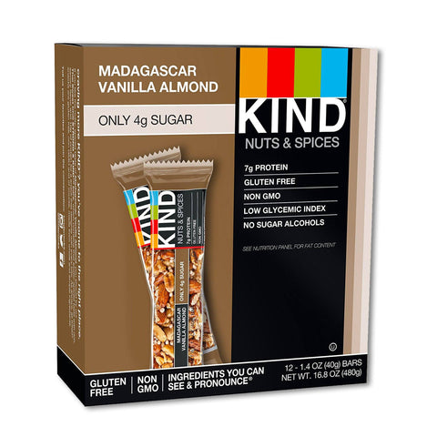 KIND Madagascar Vanilla Almond Nuts & Spices Bars - 12 Count