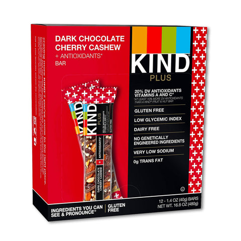 KIND Dark Chocolate Cherry Cashew Plus Antioxidants Bars - 12 Count