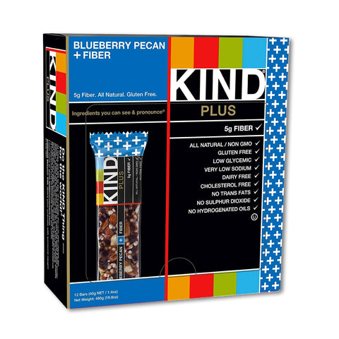 KIND Blueberry Pecan Plus Fiber Fruit & Nut Bars - 12 Count