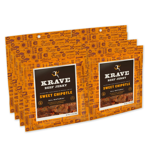 KRAVE Gourmet Beef Cuts, Sweet Chipotle Jerky - 8 Count