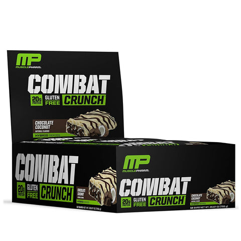 MUSCLEPHARM Chocolate Coconut Combat Protein Bars - 12 Count