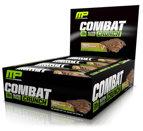 MUSCLEPHARM Chocolate Peanut Butter Cup Combat Protein Bars - 12 Count