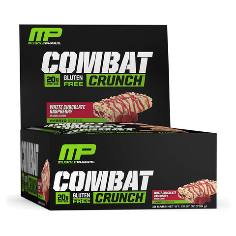 MUSCLEPHARM White Chocolate Raspberry Combat Protein Bars - 12 Count