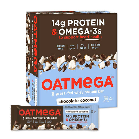 OATMEGA Chocolate Coconut Protein Bars - 12 Count