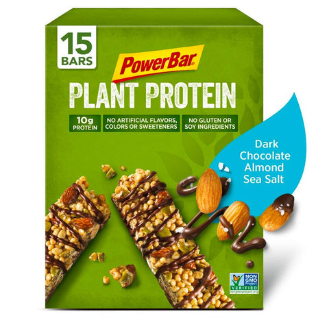 POWERBAR Dark Chocolate Almond Sea Salt 1.76 oz. Plant Protein Bars - 15 Count