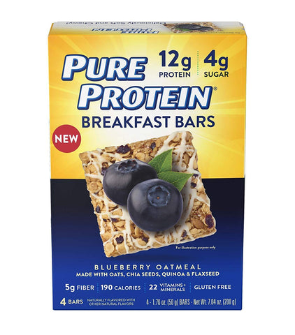 PURE PROTEIN Blueberry Oatmeal Breakfast Bars - 4 Count