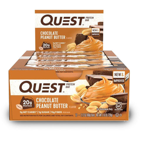 QUEST NUTRITION Chocolate Peanut Butter Protein Bars - 12 Count