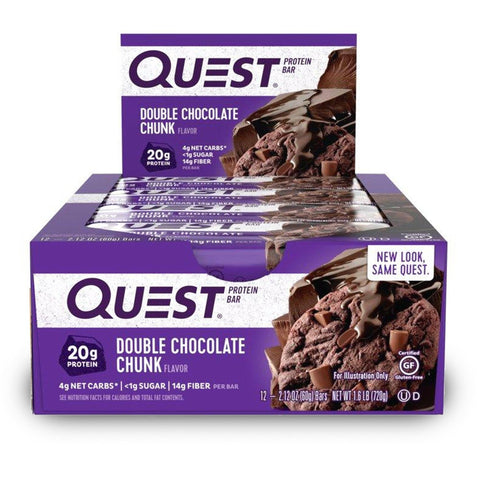 QUEST NUTRITION Double Chocolate Chunk Protein Bars - 12 Count