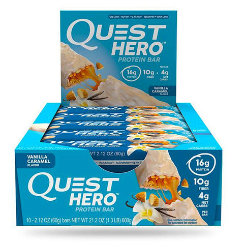 QUEST NUTRITION Hero Vanilla Caramel Protein Bars - 10 Count